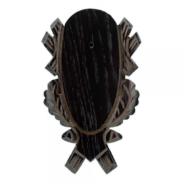 Gehörnbrettchen Rehbock Eiche geschnitzt dunkel