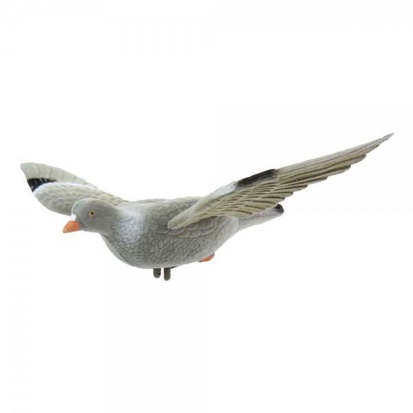 Beflockte Vollkörper Locktaube mit Flügeln
