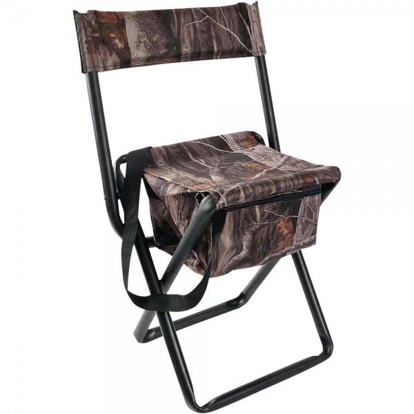 Sitzstuhl mit Rückenlehne und Tasche